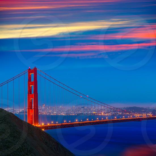 San Francisco Golden Gate Bridge sunset California USA photo