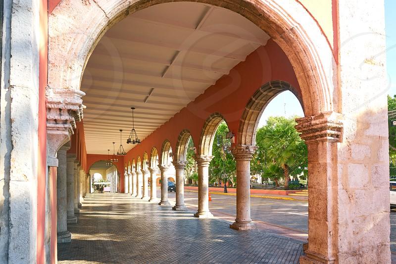 Merida city arcade arcs of Yucatan in Mexico photo