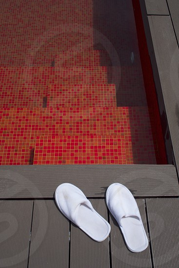 Senses cool water red tiles shadow angles photo