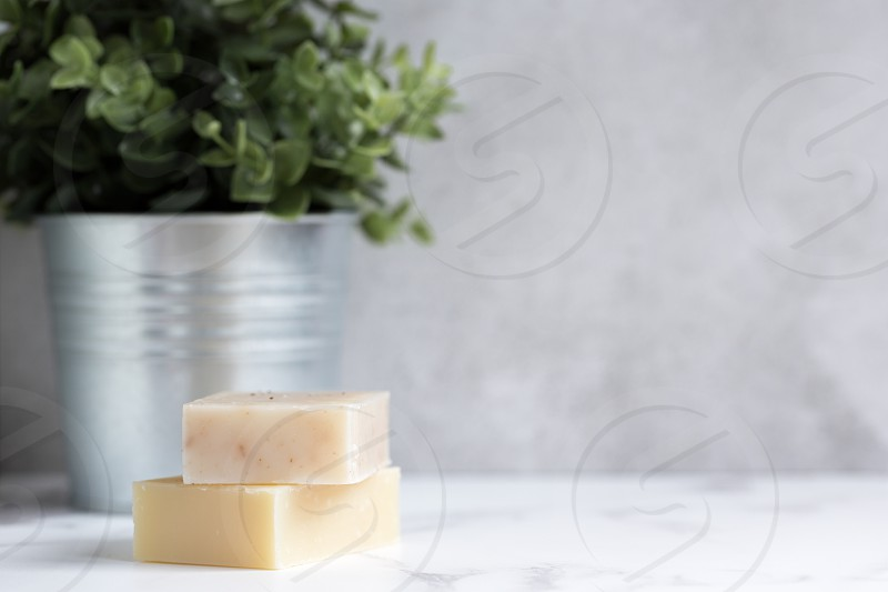 Handmade natural soaps with copy space photo