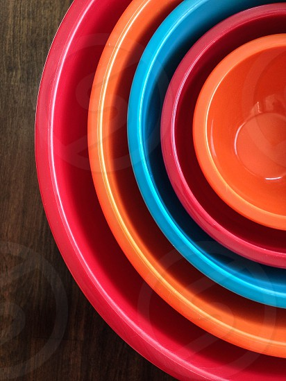 Nesting bowls in bright colors photo