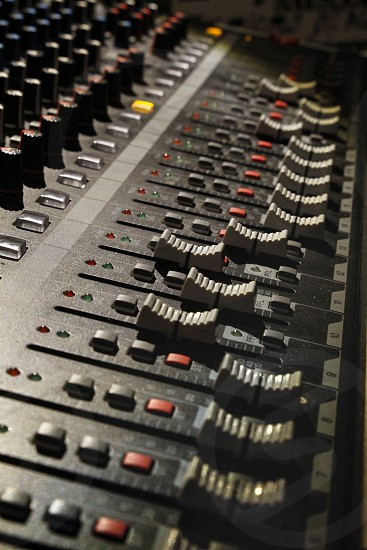 Electronic mixer used to create music from a dj photo