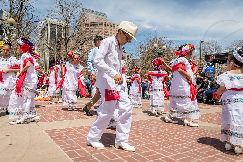 A traditional dance during the Cinco de Mayo festival in Denver Colorado photo