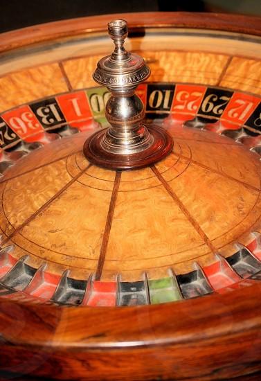 Vintage roulette gambling wheel photo