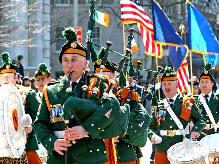 A band of bagpipers and drums in New York City's St. Patrick's Day parade. photo