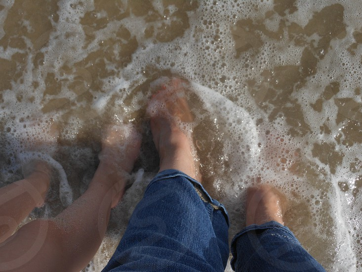 feet sand sandy beach tide water ocean summer fun photo