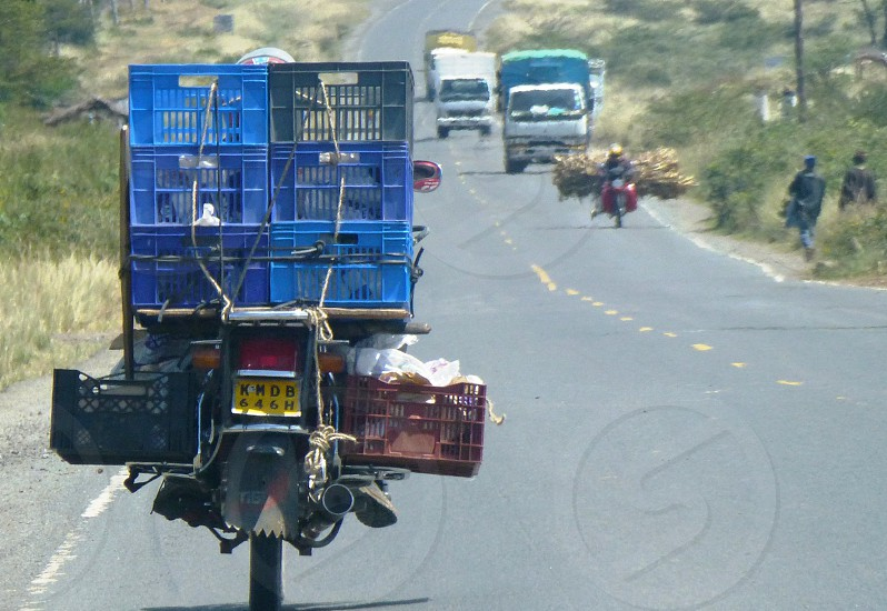 Full motorcycle load in Kenya photo