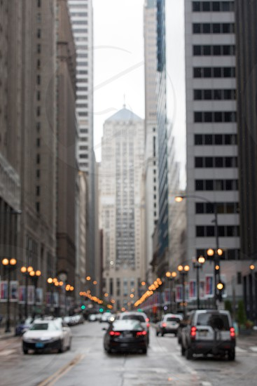 Playing in traffic on an urban street photo