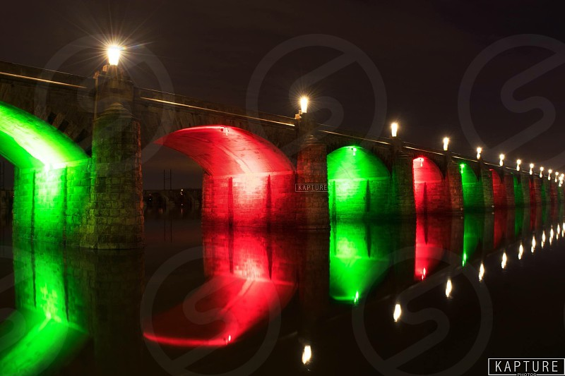 Bridge river night Christmas nightscape lights long exposure  photo