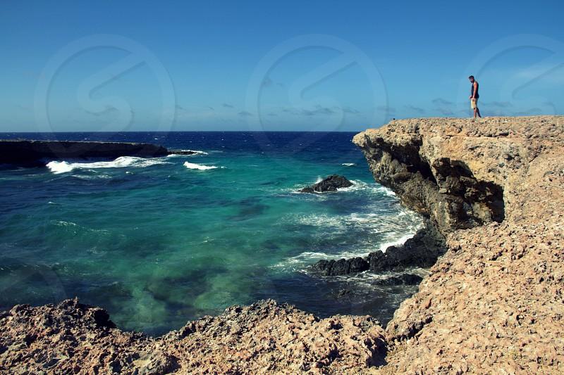 Caribbean Cliff Hiking - Aruba photo