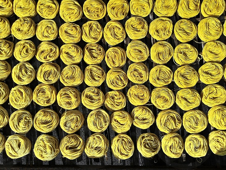 Rows of dried noodles photo