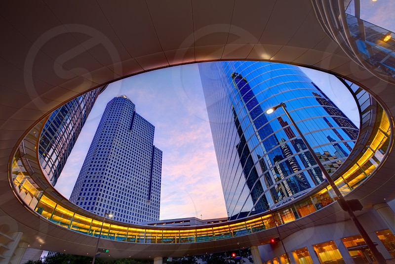 Houston Downtown sunset modern skyscrapers at Texas US USA photo