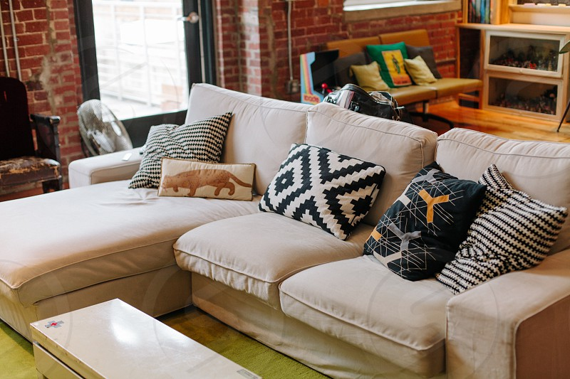 black and white diamond pattern couch pillow photo