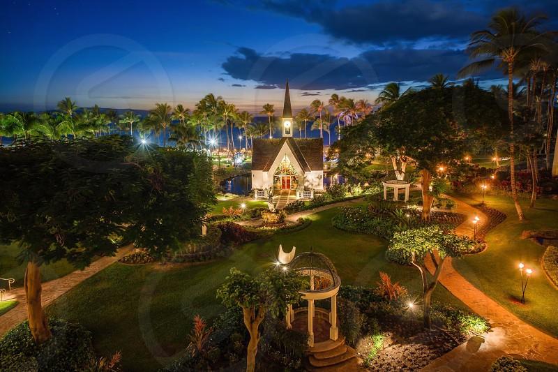Chapel Garden at the Grand Wailea resort in Maui Hawaii  photo