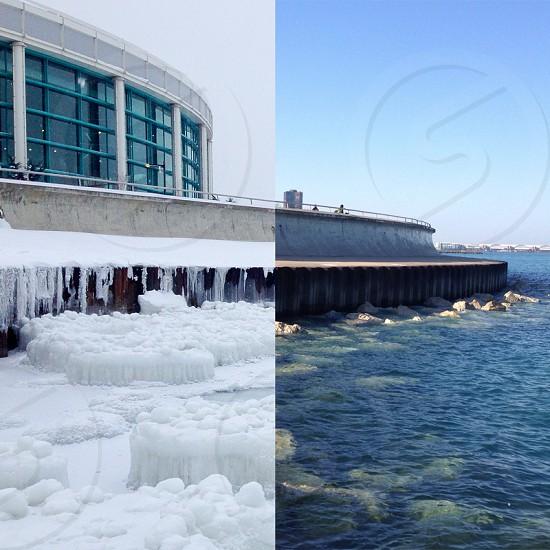 Chicago winter vs summer photo