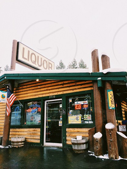 brown wooden liquor store photo