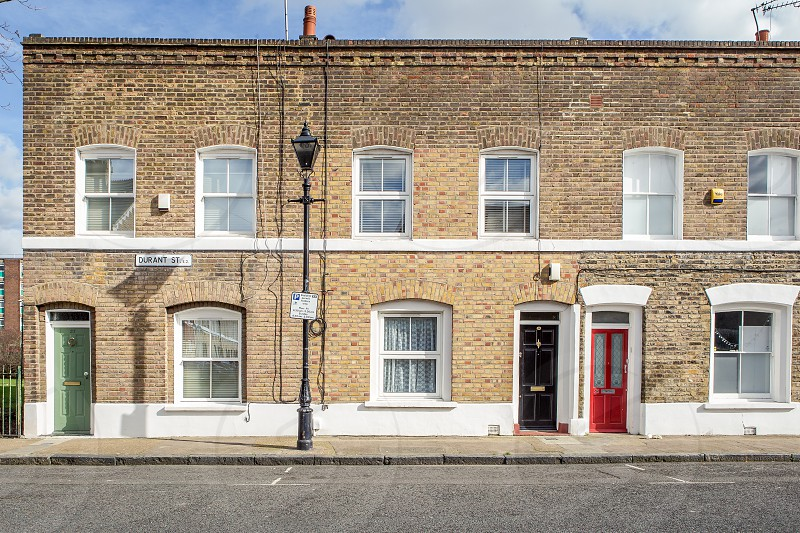 Typical row of workers' houses Bethnal Green London photo