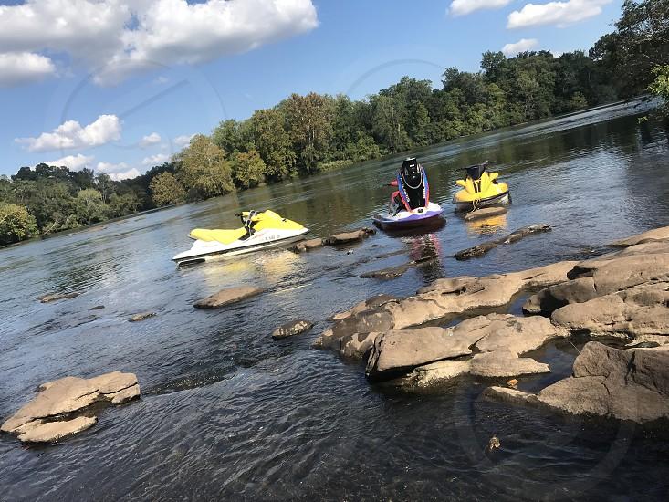 Jets ski riding at lake Harding in Alabama photo