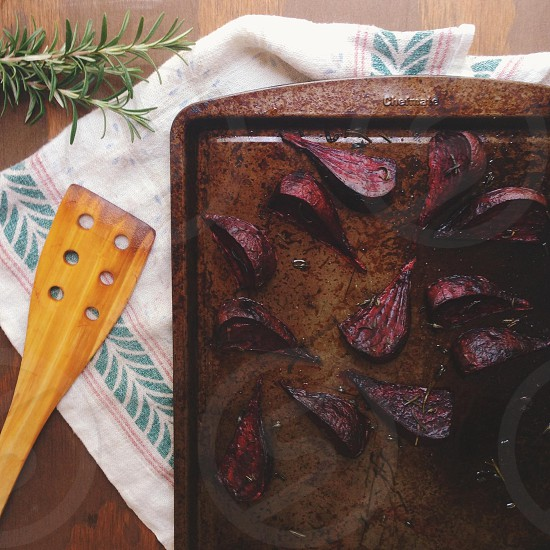 grilled beets on brown tray photo