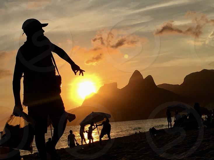 rio de janeiro ipanema morro dois irmãos sunset warm summer photo
