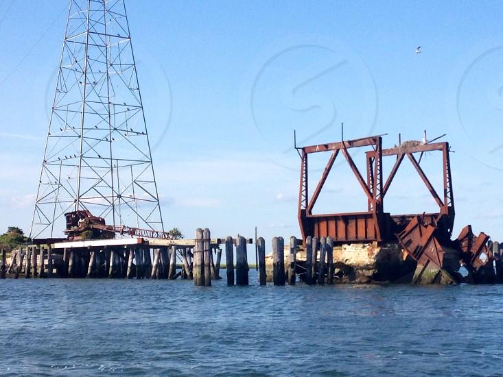 Abandoned railroad and crane in Wildwood NJ  photo