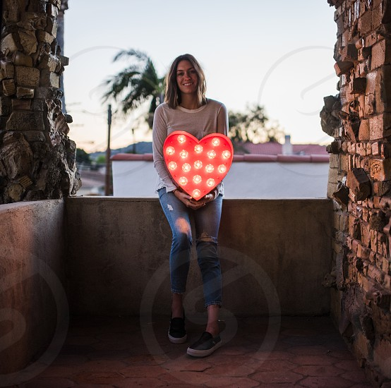 valentine heart love girl woman home light photo