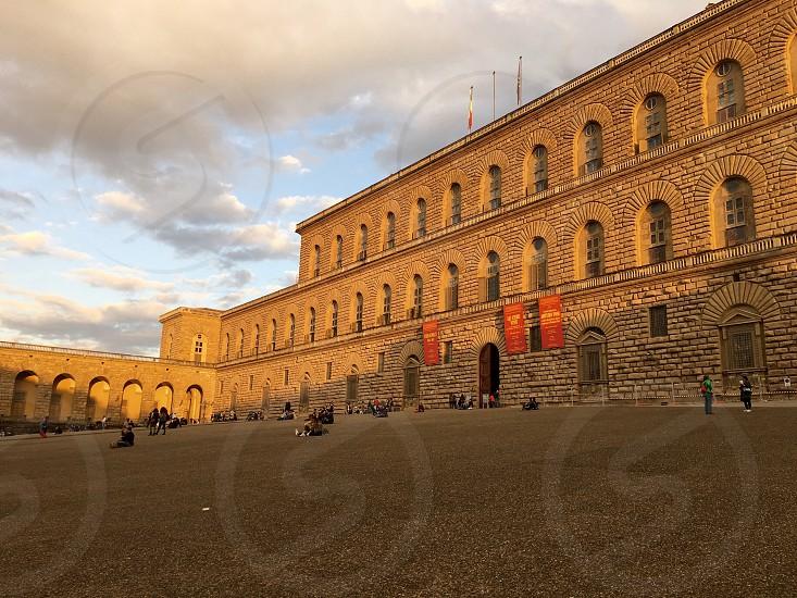 Florence tuscany architecture building fashion historical pitti palace square people  photo