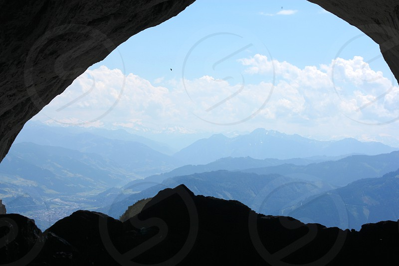 Looking out of the ice caves Austria photo