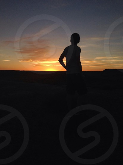 Looking into the sunset at the Petrified Forest National Park. photo