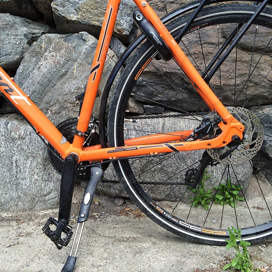 view of orange framed bicycle photo