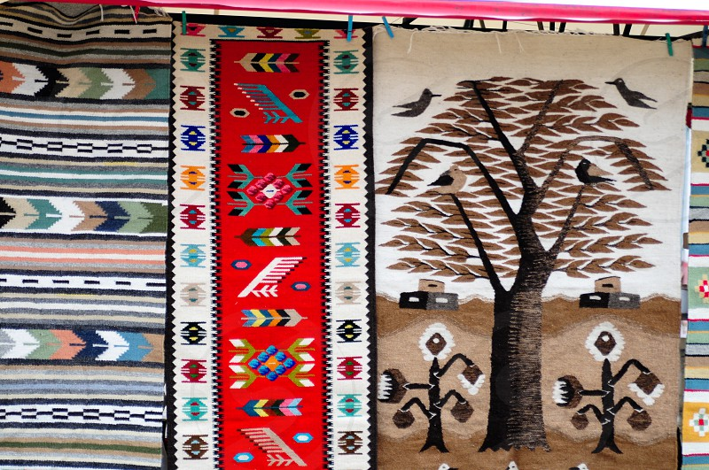 Traditional carpets in Bucovina Romania photo