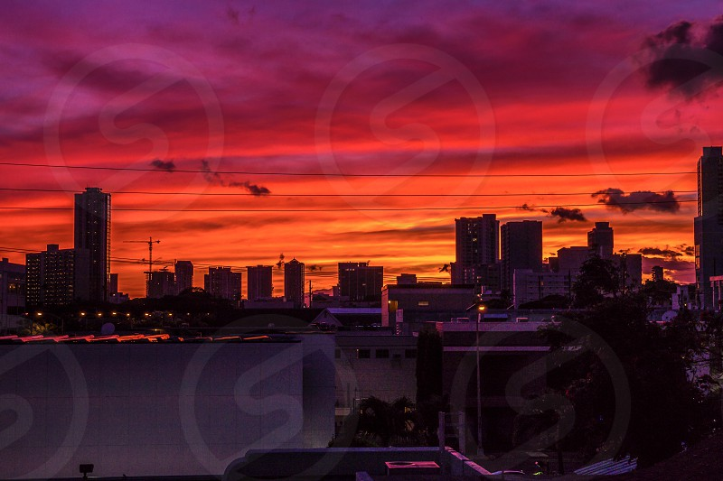 Honolulu architecture sunset cityscape photo