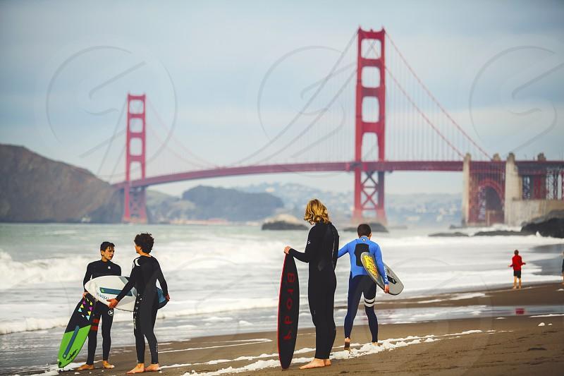 baker beach surfers photo