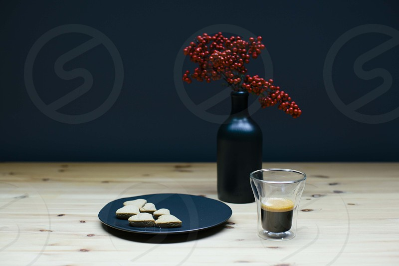 Coffee. Gingerbread cookies. Floral. photo