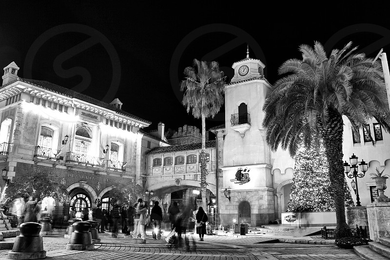 'Holiday Season' (1)  Holiday Season December Celebration Party Dancing Countdown Night view New Year's eve Clock Tower LightsOutdoor Horizontally long Laterally long Oblong Black and White B&W Monochrome photo