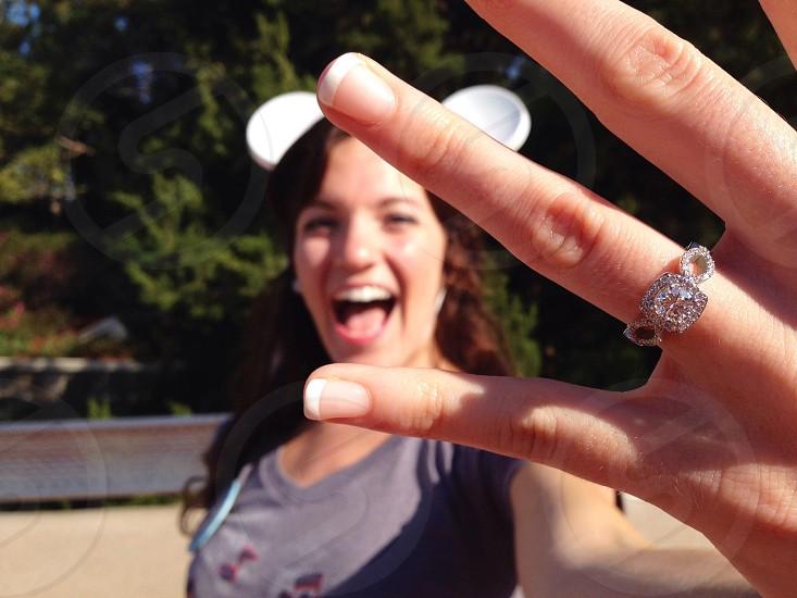 woman wearing silver diamond studded ring  photo