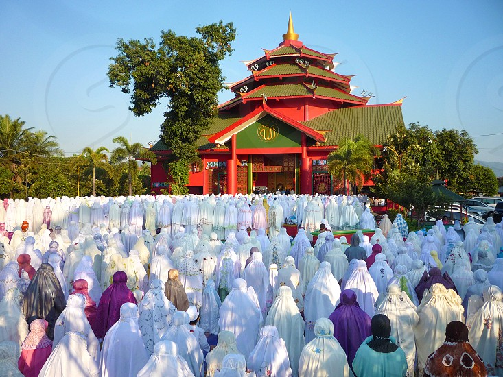 Sholat IED In Cheng Ho mosque unique mosque with traditional China architecture East Java Indonesia photo