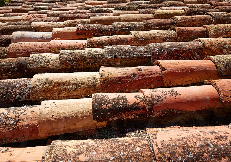 Arabic roof tiles pattern texture in Teruel of Spain photo