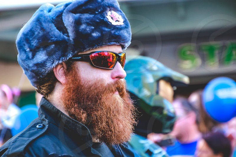 man in costume fictional character big bearded Russian soldier  photo