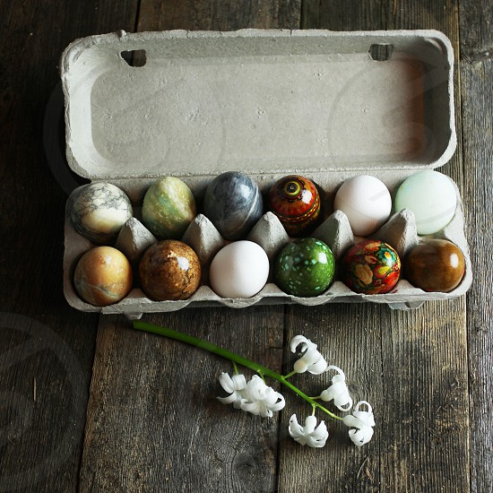 Eggs stone granite marble rustic still life holiday Easter Easter eggs egg collection egg carton photo
