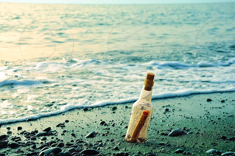message in a bottle on seashore during daytime photo