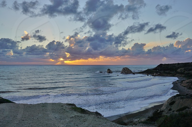 Petra tou Romiou - Paphos Cyprus - is a sea stack offshore known in mythology as the birthplace of Aphrodite  photo