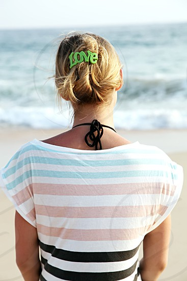 Girl love air hair beach back sunny daylight sea mood happy summer holiday trip travel vocation photo