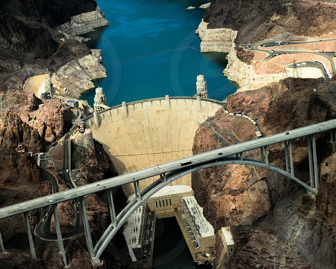 Bridge at Hoover Dam from above Nevada photo