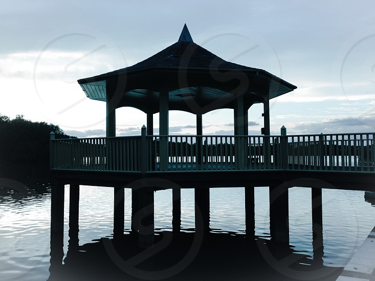 Pagoda on the lake shadows photo