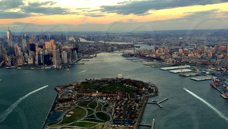 New York harbor Usa Hudson river Manhattan sea cityscape bridge skyscrapers aerial photo