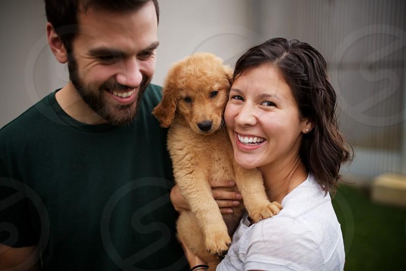 outdoor puppy golden retriever bonding photo