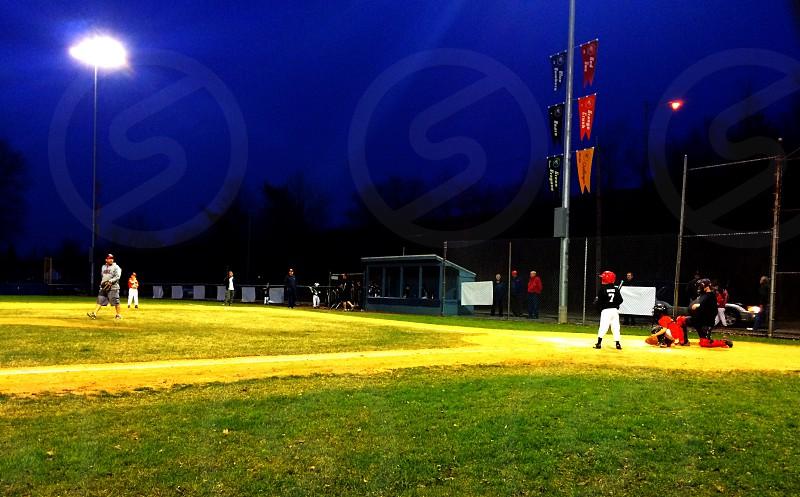 Green Grass Baseball Field Little League kids lights New Jersey garden state  photo