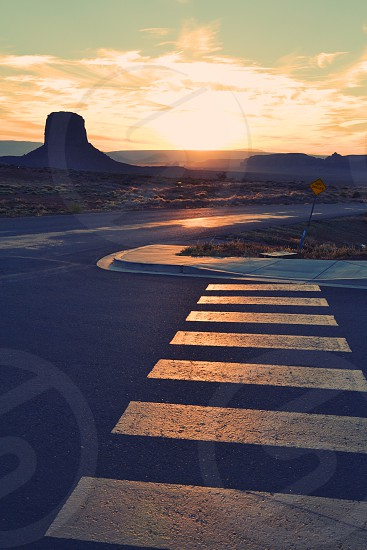 Sunset on parking lot at Monument Valley NP photo