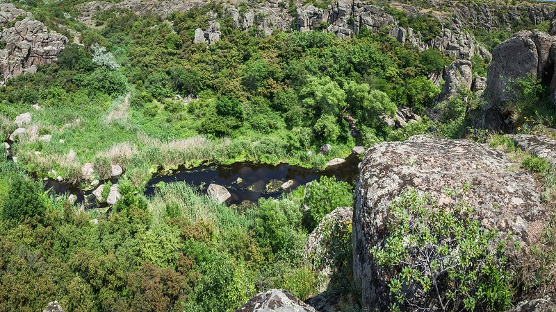 Panoramic view of Aktovskiy Canyon Nikolayev region Ukraine. River Mertvovod in a sunny summer day. One of natural wonders of Europe photo